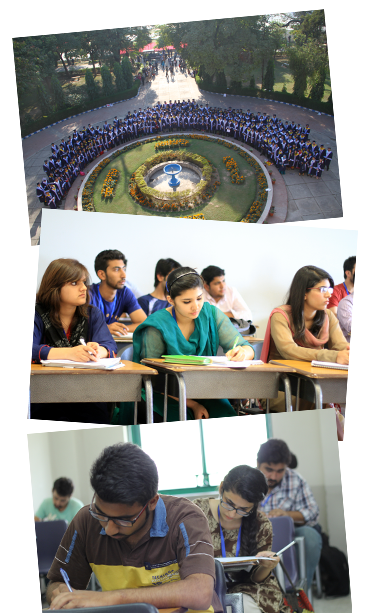 Three images of students or buildings at school